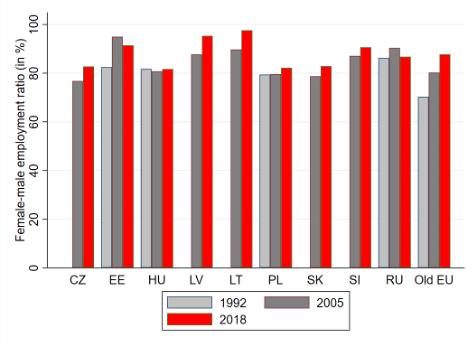 Figure 1A. Female-male labour force participation